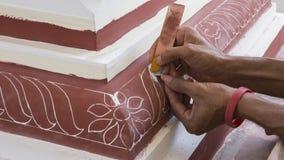 Pintura de la reconstrucción del templo Templo principal indio de la pintura Imagen de archivo libre de regalías