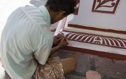 Pintura de la reconstrucción del templo Templo principal indio de la pintura Foto de archivo libre de regalías