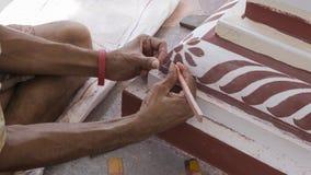Pintura de la reconstrucción del templo Templo principal indio de la pintura Fotografía de archivo