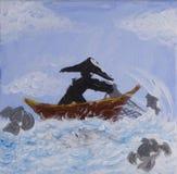 Pintura de la red de pesca del bastidor del pescador en el acrílico fotografía de archivo