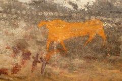 Pintura de la roca de los bosquimanos fotografía de archivo libre de regalías