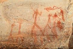 Pintura de la roca de los bosquimanos imagenes de archivo