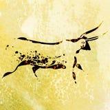 Pintura de la roca del san de los bosquimanos del toro ilustración del vector