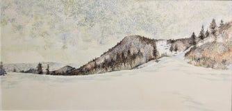 Pintura de la textura del primer del aceite de la montaña de la nieve de Japón Hokkaido Fotografía de archivo libre de regalías