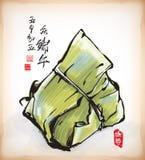 Pintura de la tinta de la bola de masa hervida china del arroz Fotografía de archivo