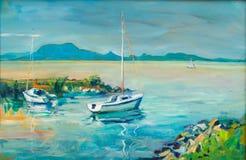 Pintura de la vista de Badacsony Imagenes de archivo
