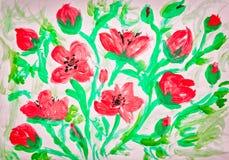 Pintura de las amapolas Fotografía de archivo libre de regalías