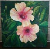 Pintura de las flores del hibisco pintadas en aceite en verano libre illustration