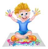 Pintura de Little Boy de la historieta Fotos de archivo