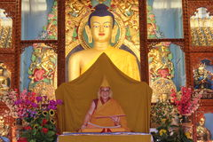Pintura de Lord Buddha, monastério de Gyuto, Himachal Pradesh, Índia Imagens de Stock Royalty Free