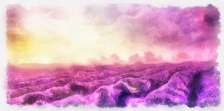 pintura de los campos de la lavanda en lona Landsapec de la puesta del sol Fotografía de archivo libre de regalías