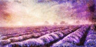 pintura de los campos de la lavanda en lona Paisaje de la puesta del sol Fotografía de archivo libre de regalías