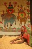 Pintura de Madhubani em Bihar-India Fotografia de Stock Royalty Free