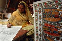 Pintura de Madhubani en la Bihar-India Foto de archivo