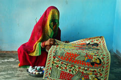 Pintura de Madhubani en la Bihar-India Imagenes de archivo