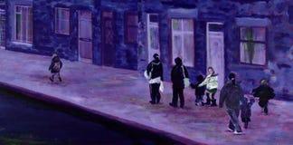 Pintura de madres y de niños en una calle en invierno stock de ilustración