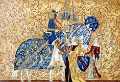 Pintura de Medival del rey y de la reina con el caballo azul Imagen de archivo libre de regalías