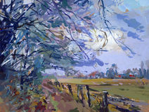 Pintura de paisagem Imagem de Stock