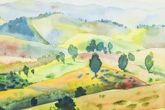 Pintura de paisagem colorida da montanha e da emoção no fundo azul Imagem de Stock