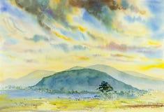 Pintura de paisagem colorida, ilustração, montanha, floresta Fotos de Stock Royalty Free