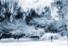 Pintura de paisagem das árvores Fotos de Stock Royalty Free