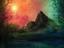 Pintura de paisagem de Skyfire - de Digitas Imagens de Stock Royalty Free