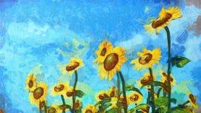 Pintura de paisagem do girassol Estilo artístico da pintura a óleo foto de stock