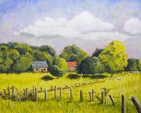 Pintura de paisagem de Limousin do francês Imagens de Stock Royalty Free
