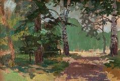Pintura de paisagem que mostra a estrada através da floresta no dia de verão bonito Conceito da arte Foto de Stock