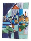 Pintura de paisaje abstracta Foto de archivo libre de regalías