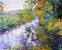 Pintura de paisaje de la caída Imagenes de archivo