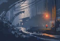 Pintura de paisaje de la ciudad subterráneo ilustración del vector