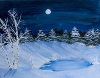 pintura de paisaje de la escena del invierno Fotografía de archivo libre de regalías