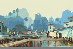 Pintura de paisaje del pueblo del río
