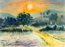 Pintura de paisaje en colorido de papel de la cabaña, campos, montañas ilustración del vector