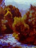 Pintura de paisaje de la caída ilustración del vector