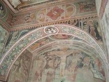 Pintura de pared antigua en el castillo de Malpaga Imagen de archivo libre de regalías