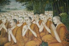 Pintura de pared del templo budista Fotos de archivo libres de regalías