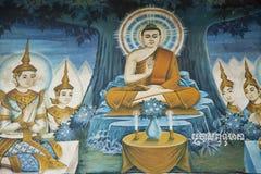 Pintura de pared del templo budista Foto de archivo libre de regalías