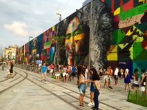 Pintura de pared en el bulevar olímpico - Río 2016 Imágenes de archivo libres de regalías