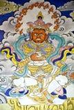 Pintura de pared en el monasterio de Hemis, Leh-Ladakh, la India fotografía de archivo libre de regalías