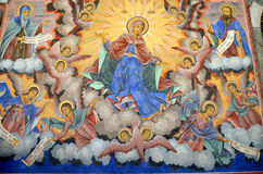 Pintura de pared en la iglesia del monasterio de Rila Foto de archivo