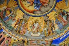 Pintura de pared en la iglesia del monasterio de Rila Fotos de archivo libres de regalías