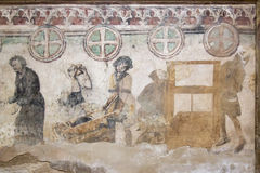 Pintura de pared gótica - explotación minera y acuñación de plata Foto de archivo