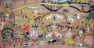 Pintura de pared india de la bella arte Fotografía de archivo libre de regalías