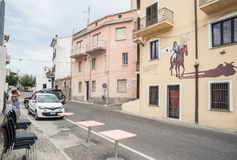 Pintura de pared, murales en Oliena, provincia de Nuoro, isla Cerdeña, Italia fotografía de archivo
