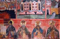 Pintura de pared ortodoxa interior Foto de archivo