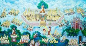 Pintura de parede do templo budista Fotografia de Stock Royalty Free