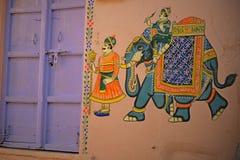 Pintura de parede em Udaipur, Índia Fotos de Stock
