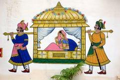 Pintura de parede no palácio da cidade, Udaipur foto de stock royalty free